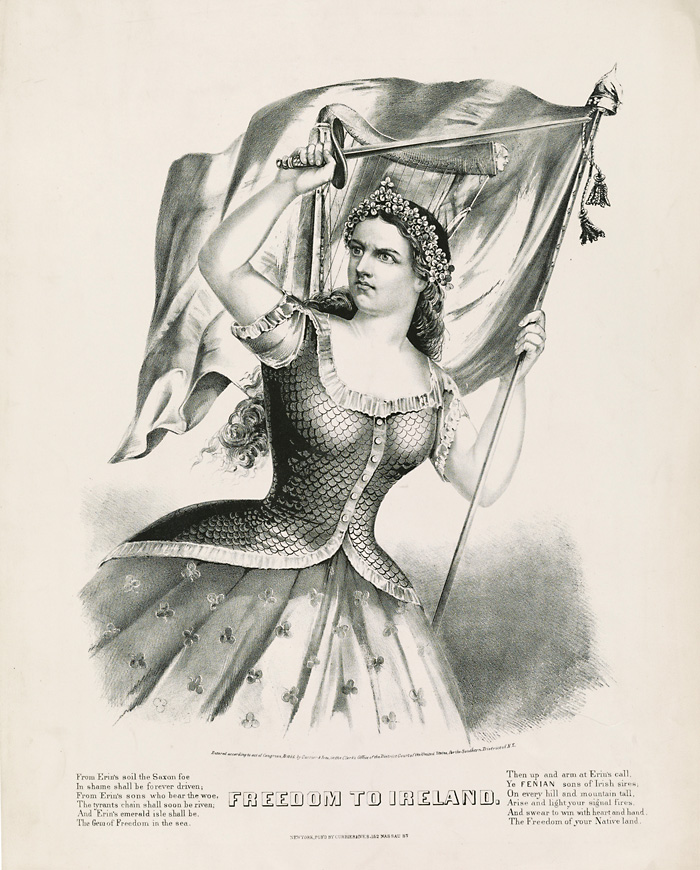"""Freedom to Ireland, published by Currier & Ives, New York, ca. 1866. Members of the charitable Hibernian Society while following their mission to help """"distressed"""" Irish immigrants also advocated for an autonomous Ireland. Courtesy of the Library of Congress."""