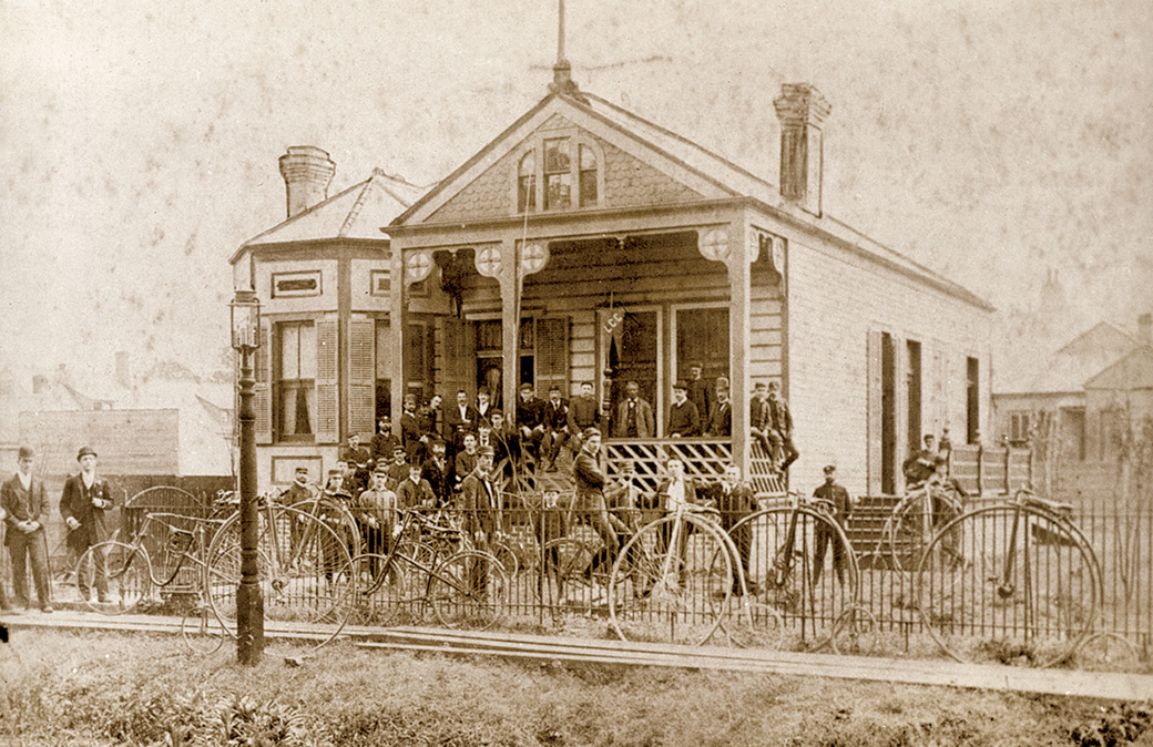Louisiana Cycling Club members gather outside their clubhouse, located at 1637 Octavia Street. Founded by railroad clerk Richie Betts, the LCC attracted younger members of the city's middle class. Courtesy of the Historic New Orleans Collection.