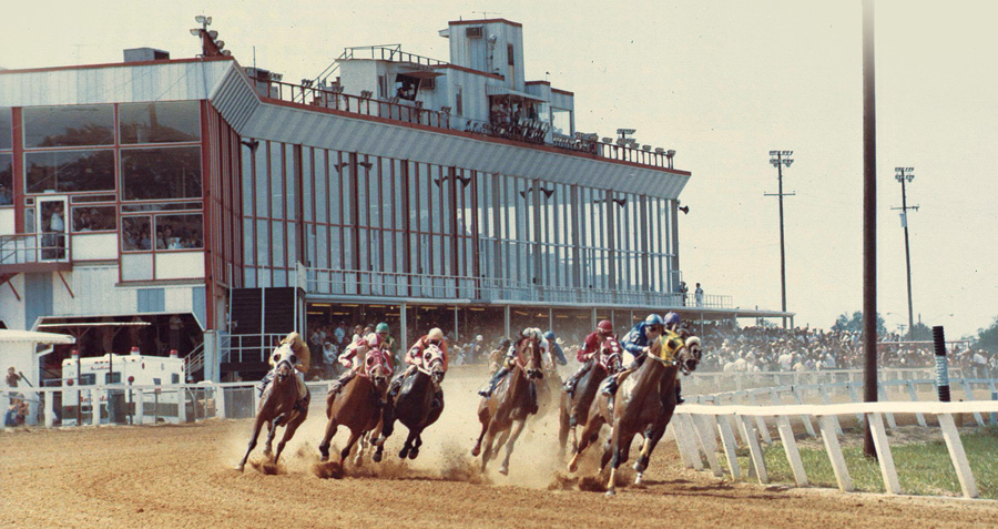 "On the best race days, the track at Evangeline Downs was rated ""fast,"" offering an opportunity for record-setting performances. Courtesy of the Bob Henderson Collection, Dupre Library, University of Louisiana, Lafayette"