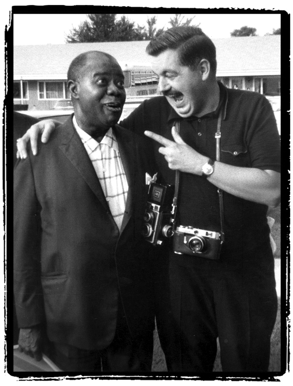 In this 1967 photo, jazz great Louis Armstrong, left, and photographer Jack Bradley are captured in Framingham, Massachusetts. BradleyÕs close friendship gave him unrestricted access to make thousands of photographs of Armstrong. Photo by Jack Bradley, Courtesy of the Louis Armstrong House Museum
