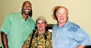 Tech giants (left to right): NBA legend Karl Malone, sportswriter Buddy Davis, and NFL legend Terry Bradshaw. Courtesy of Lincoln Parish Library