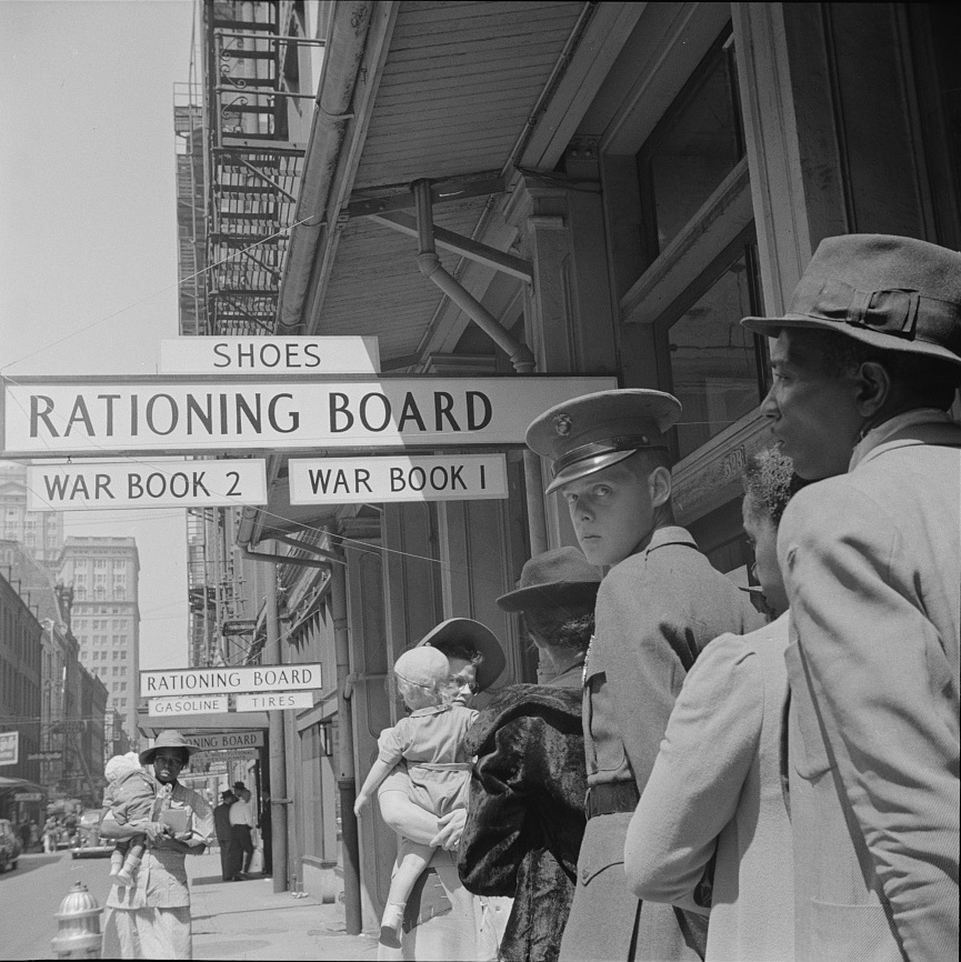 Ration lines in New Orleans during World War II.