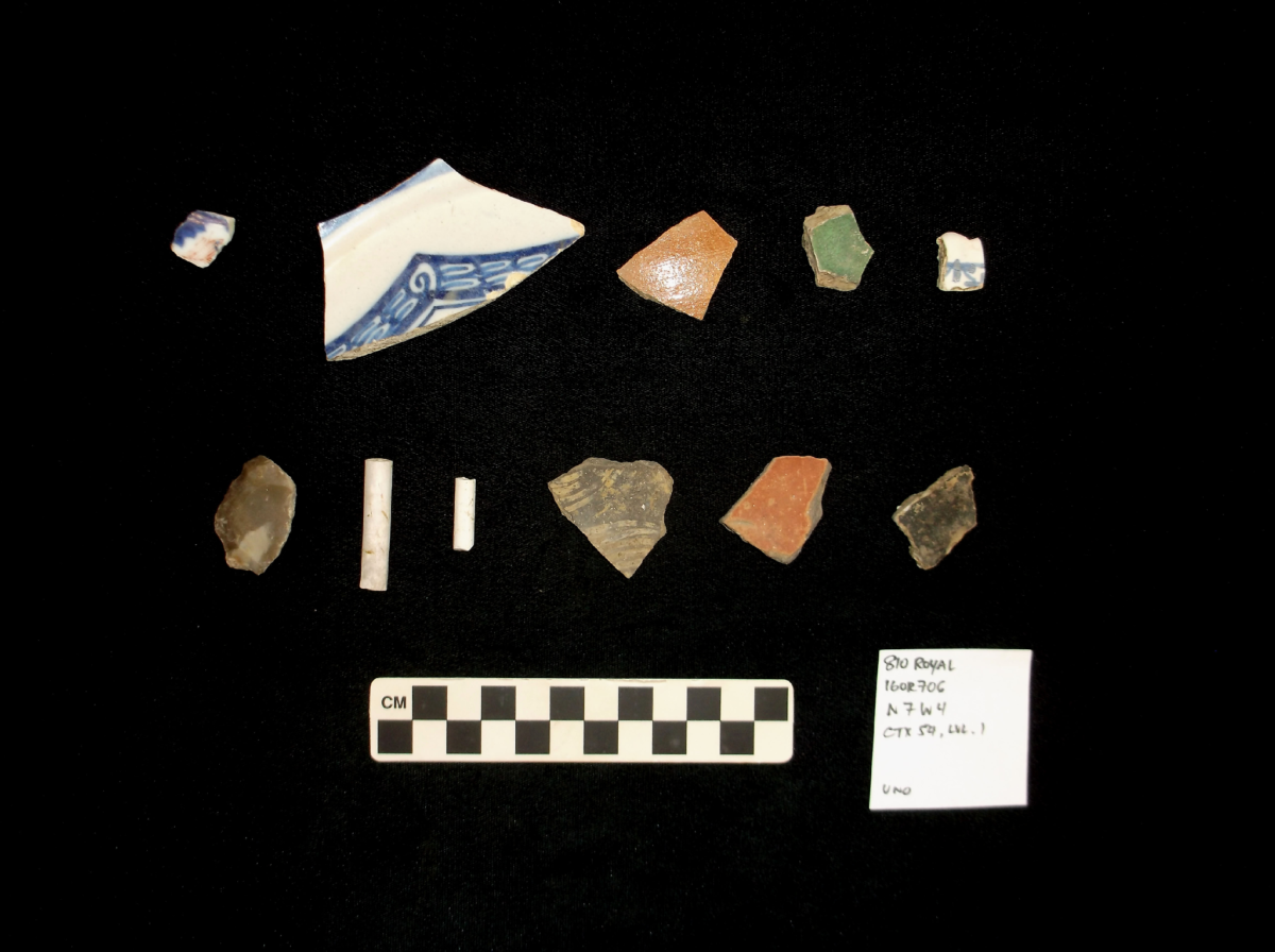 Artifacts Excavated from French Colonial Era Deposits