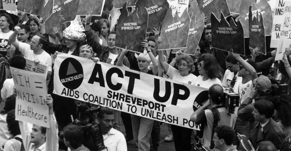 ACT UP Shreveport activists protest at the National Institute for Health in 1990.