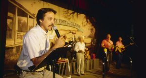 Barry Ancelet on stage at Rendezvous des Cajuns in 1994. Photo by Philip Gould