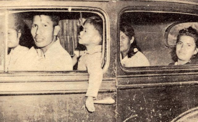 The Sylestine family, members of the Chitimacha Tribe of Louisiana, ride to Elton, La. Courtesy of McNeese State University