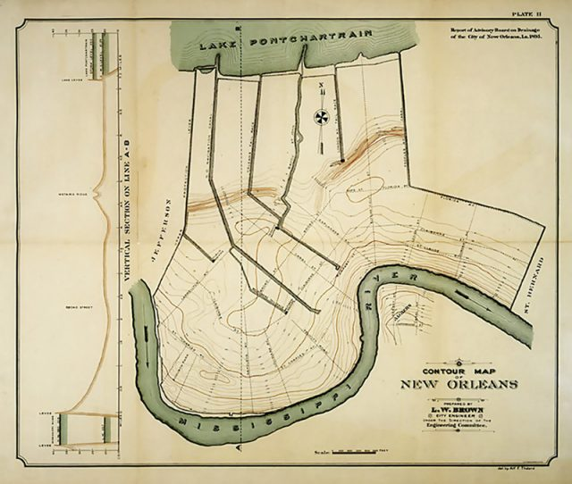 This 1895 elevation map of New Orleans by LW Brown and the Drainage Advisory Board, was the best of its time. Courtesy The Historic New Orleans Collection