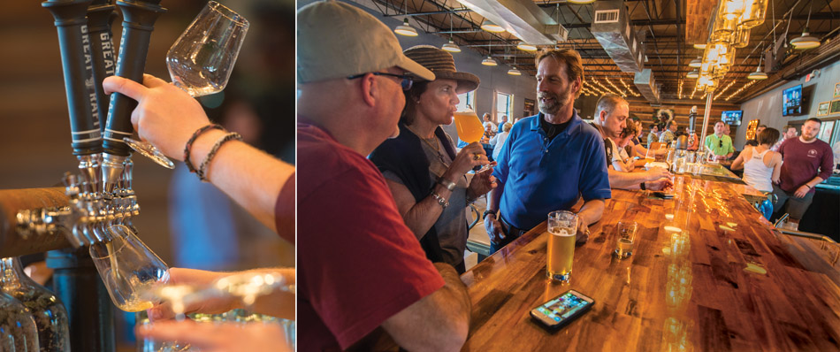 Visitors sample the product in the Great Raft taproom, located next to the brewery in the Historic Fairfield District.