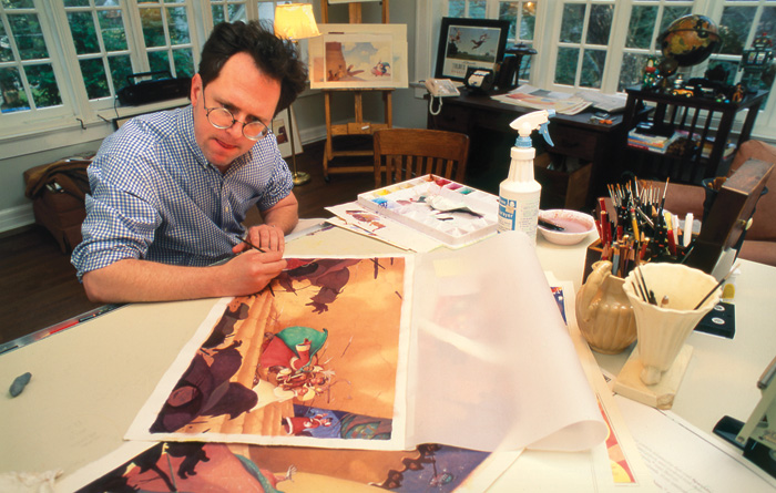 William Joyce at work on Santa Calls in his home studio, 1993.