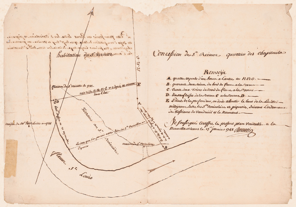 This 1735 map was used in a 1748 lawsuit, Boisclair v. Piquery. The suit resulted from a dispute over Nicolas Chauvin de Boisclair's sale of land to baker Pierre Piquery.  Courtesy of the Louisiana State Museum Historical Center and the Louisiana Historical Society