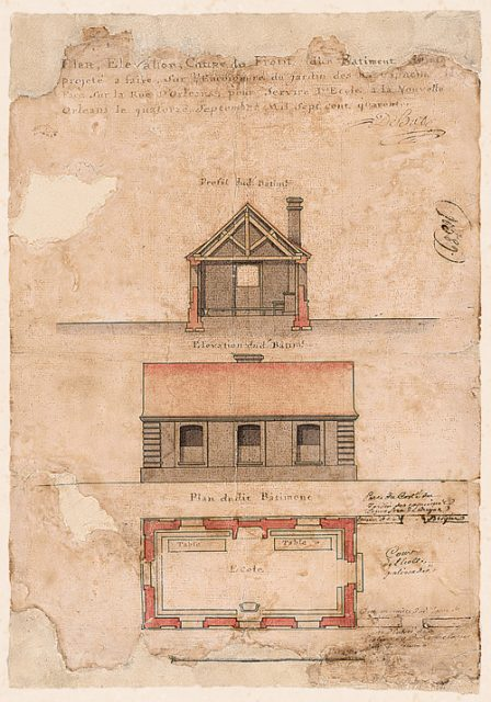 "This water-colored drawing – created by the artist Alexandre De Batz in 1740 Ð is entitled ""Plan, Elevation, Section and Profile of the Brick Building Projected to Be Built on the Corner of the Garden of the Rev. Capuchin Fathers, Facing on Orleans Street, to Serve as a School.Ó The new structure would have replaced a nearby ruined house, where Capuchin Father Raphael de Luxembourg had established a school for boys in 1725, but it was never built. Courtesy of the Louisiana State Museum Historical Center and the Louisiana Historical Society"