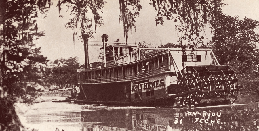 Postcard image of the steamboat Amy Hewes on the Teche, one of the last steamboats to ply the waterway, ca. 1935. Courtesy of Shane Bernard